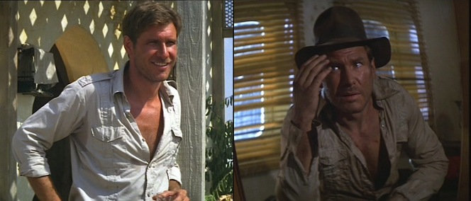 Indy's safari shirt sees its fair share of wear and tear in Raiders of the Lost Ark... although not nearly as much as in Indiana Jones and the Temple of Doom when he loses his sleeves!