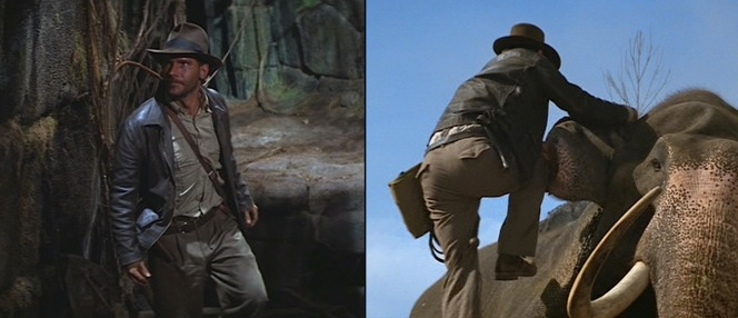 Indy's military-style trousers as seen in Raiders of the Lost Ark (left) and Indiana Jones and the Temple of Doom (right).