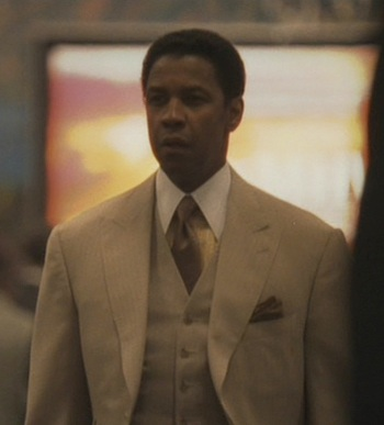 Denzel Washington as Frank Lucas in American Gangster (2007).