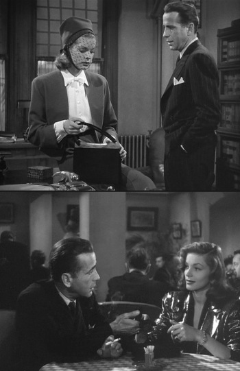 A scene between Bogie and Bacall was originally set in Marlowe's office with Vivian wearing a somber black veil (top, 1945 version). After the couple became red-hot in Hollywood, the scene was re-shot as a much more flirtatious and glamorous encounter in a café. (bottom, 1946 version)