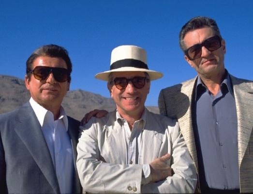 Joe Pesci, Martin Scorsese, and Robert De Niro take a break from filming a tense scene in the desert outside Las Vegas.