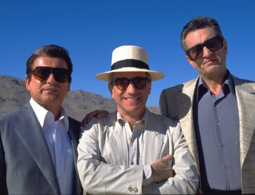 Joe Pesci, Martin Scorsese, and Robert De Niro take a break from filming a tense scene in the desert outside Las Vegas.