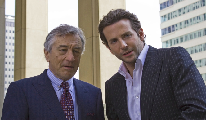 A production still of Robert De Niro and Bradley Cooper in Limitless.