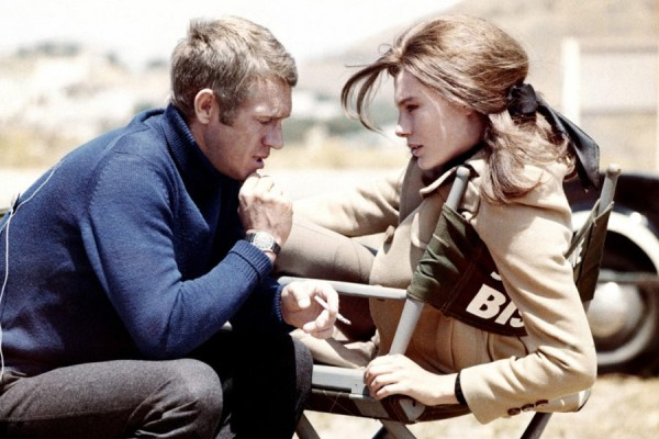Steve McQueen and Jacqueline Bisset on set.