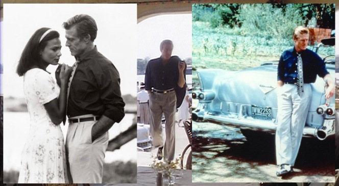 Weil's trousers are best seen as he struts into the open-air restaurant on his last morning in town as well as in some production photos featuring both Lena Olin and a sharp '55 Cadillac convertible.