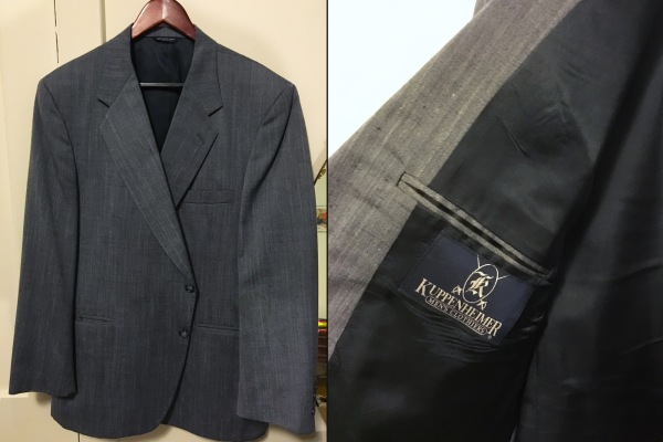My lucky find: a Kuppenheimer blue silk blend jacket.