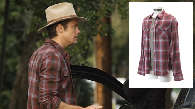 "Raylan's red-and-gray plaid flannel shirt as auctioned by ScreenBid (inset) exactly matches the one he wore in ""Bloody Harlan"" (Episode 2.13)."