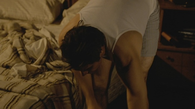 """Raylan spends plenty of time in his underwear while fooling around with Winona in his motel room before going out after the Bennetts in """"Bloody Harlan"""" (Episode 2.13)."""