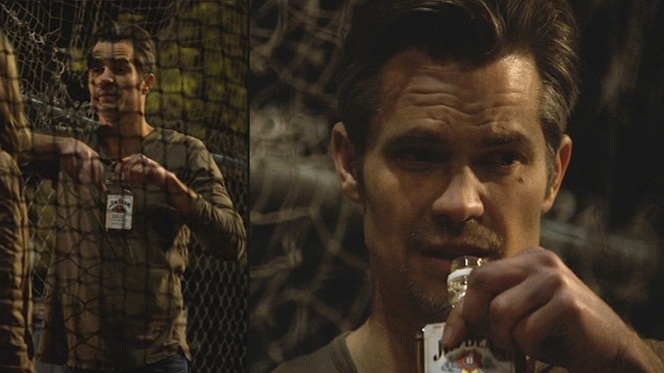 Some baseball players prefer chewing tobacco. Raylan prefers shots of bourbon straight form the bottle when he's swinging the bat.