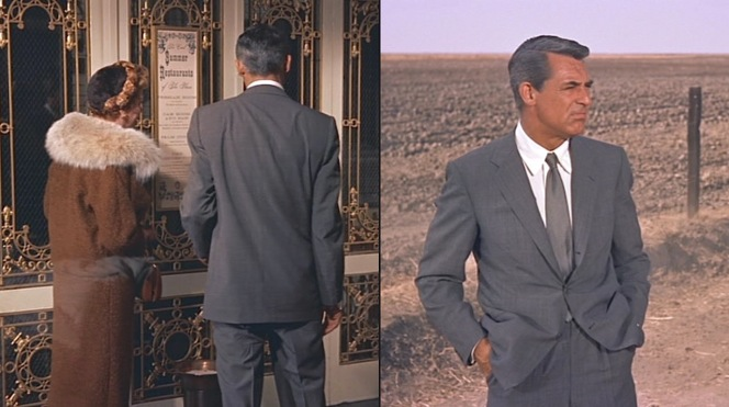 Grant's ventless suit jacket moves gracefully with him through the various hotels, trains, and cornfields of his journey.