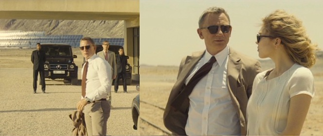 Bond's Tom Ford shirt gets plenty of screen time in the Moroccan desert when the heat forces him to take off his jacket or when the strong winds blow his jacket and tie around.