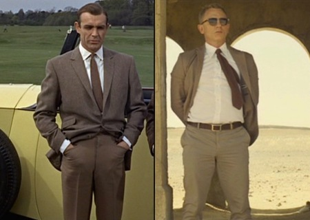 Sean Connery in Goldfinger (1964) and Daniel Craig in Spectre (2015), both sporting brown odd jackets and trousers with white dress shirts, brown knit ties, and - unseen - brown suede boots.