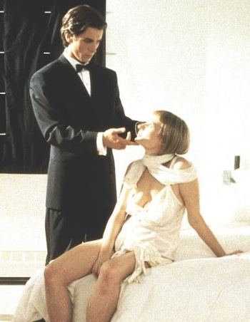 Christian Bale and Cara Seymour as Patrick Bateman and Christie, respectively, in American Psycho (2000).