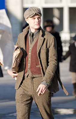 "Michael Pitt as Jimmy Darmody on the set of Boardwalk Empire while filming ""The Ivory Tower"" (Episode 1.02)."