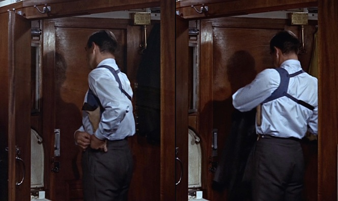 "Bond fastens his holster to the left ""Daks top"" side adjuster buttons."