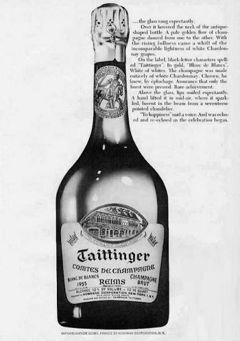 A Taittinger Blanc de Blanc ad celebrating the 1955 vintage, which is quite likely the very champagne that Bond and Tania would have enjoyed during their 1963 train journey.
