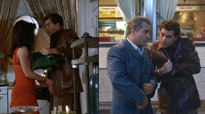 Henry also wore the jacket in a brief scene after the fallout of the Lufthansa heist when leaving a diner with Jimmy Conway (Robert De Niro). Jimmy goes over to harass some sleeping FBI agents, giving Henry a great opportunity to showcase The Liotta Laugh.