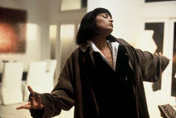 A production photo of Uma Thurman as Mia Wallace.