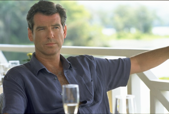 A production photo of Pierce Brosnan as Andy Osnard in The Tailor of Panama.