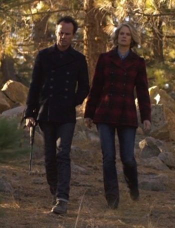 "Walton Goggins and Joelle Carter as Boyd and Ava on Justified (Episode 6.07: ""The Hunt"")"