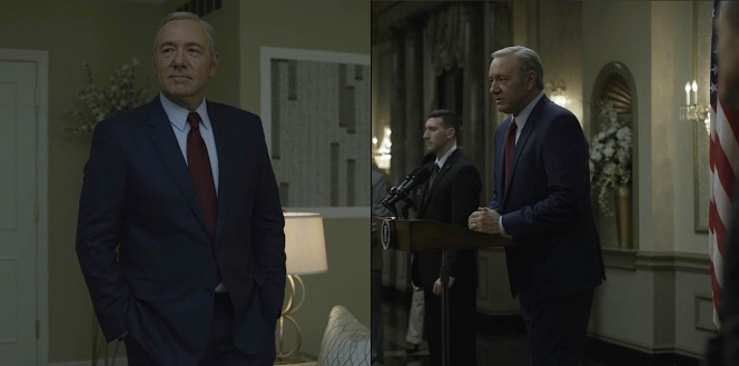 Despite his inner demons and tensions, Underwood manages to look calm, cool, and confident in both public and private.