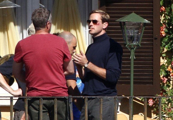 Armie Hammer takes a smoke break on the set of The Man from U.N.C.L.E.
