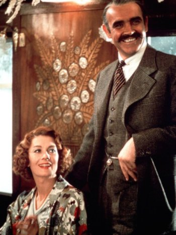 Sean Connery and Vanessa Redgrave as Colonel Arbuthnot and Mary Debenham in Murder on the Orient Express (1974).