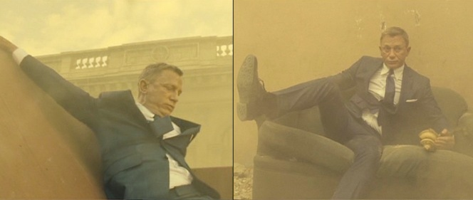 Bond looks even more visibly uncomfortable than a person would after tumbling off of a crumbling building. Maybe let your torso breathe a bit there, bud. (Also note the Dainite studded soles of his derby shoes.)
