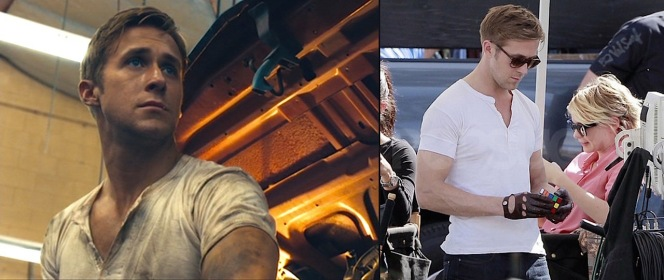 The Driver gets dirty while working on cars in Shannon's shop (left), and Gosling figures out a Rubik's cube (right).