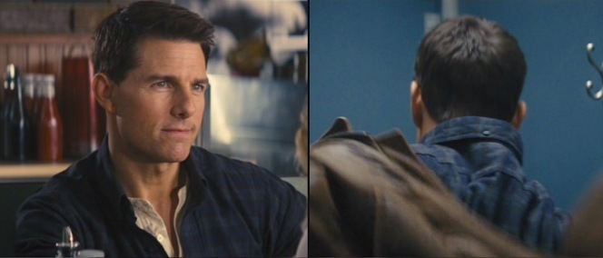 Reacher's new shirt has a collar that buttons down in both the front and back, keeping it from getting in the way when fighting villains.