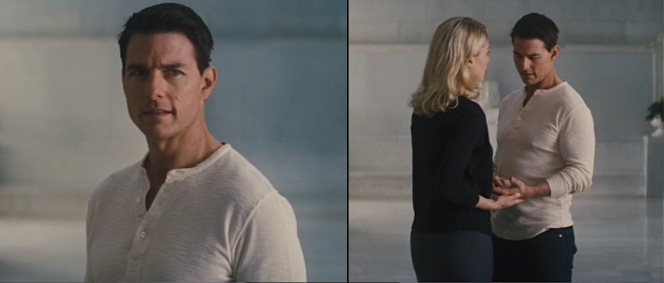 Reacher shows off his muscles by wearing only his base henley layer when hanging out with Helen Rodin (Rosamund Pike).