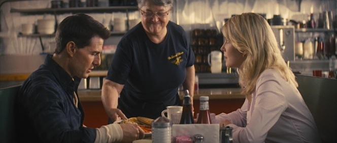 Reacher and Helen enjoy breakfast at DeLuca's.