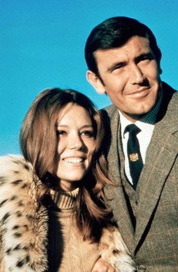 George Lazenby and Diana Rigg as James Bond and Tracy di Vicenzo in On Her Majesty's Secret Service (1969).