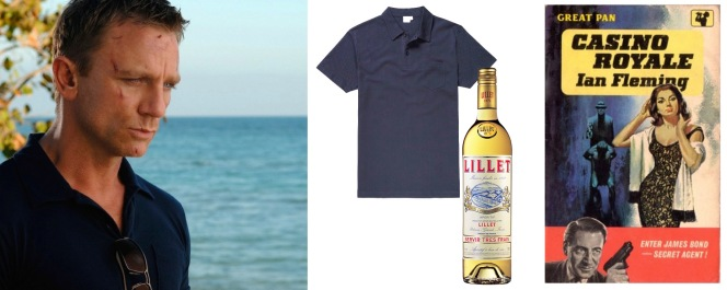 "1) Daniel Craig as James Bond in Casino Royale (post) 2) Sunspel ""Riviera"" polo in navy blue 3) Lillet Blanc 4) An early cover for Casino Royale by Ian Fleming"