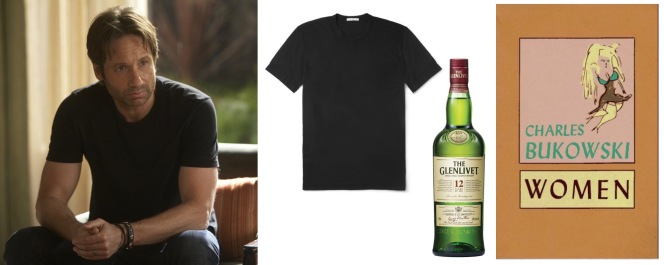 1) David Duchovny as Hank Moody on Californication 2) Black cotton James Perse t-shirt 3) The Glenlivet 12 Year Old single malt Scotch whisky 4) Women by Charles Bukowski