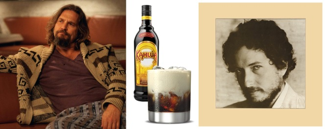 "1) Jeff Bridges as Jeffrey ""The Dude"" Lebowski in The Big Lebowski (post) 2) Kahlúa, an ingredient in... 3) a White Russian cocktail 4) New Morning by Bob Dylan"