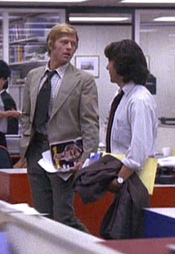Robert Redford and Dustin Hoffman as Bob Woodward and Carl Bernstein, respectively, in All the President's Men (1976)