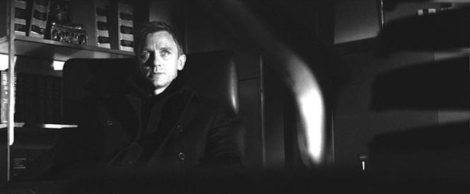 Though his non-00 status doesn't quite intimidate Dryden, Bond's dark layers add a menacing and mysterious appearance.
