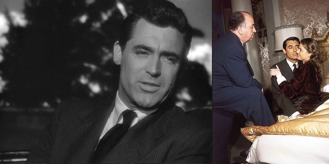 Grant's suiting is best seen in close-up shots such as his car ride with Alicia (left). A behind-the-scenes photo with Hitch and Ingrid colorizes Grant's suit to a dark gray (right).