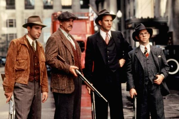 The Untouchables: George Stone (Andy Garcia), Jim Malone (Sean Connery), Eliot Ness (Kevin Costner), and Oscar Wallace (Charles Martin Smith).