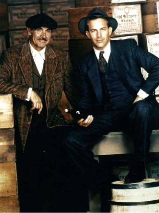 Sean Connery and Kevin Costner on set filming The Untouchables (1987)