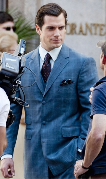 Henry Cavill on set during production of The Man from U.N.C.L.E. (2015)