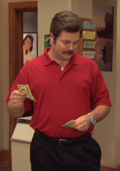 6a0bd26d Ron Swanson's Red Tiger Woods Polo. Nick Offerman as Ron Swanson on Parks  and Recreation (Episode 2.08: