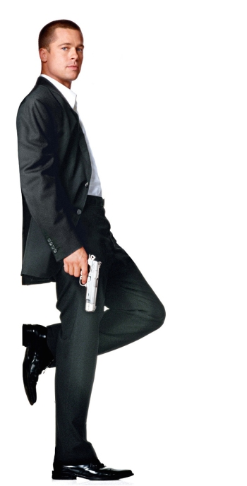 Brad Pitt, dressed in black suit and armed with a Colt XSE, as featured in much of Mr. & Mrs. Smith's promotional materials.