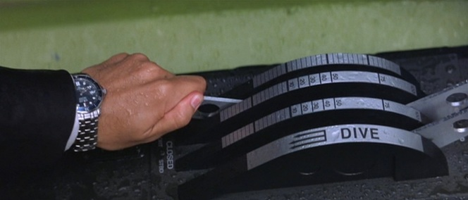 Luckily for Bond, his stainless steel dive watch is water-resistant to 300 meters...although that depth would have certainly tested the limits of Q's modest watercraft.