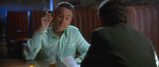 A slightly dressed down Ace wears his mint green silk Anto shirt when confronting Nicky Santoro (Joe Pesci) with the news of his listing in the infamous NGC Black Book. (In real life, Tony Spilotro had been admitted to the Black Book in December 1978.)