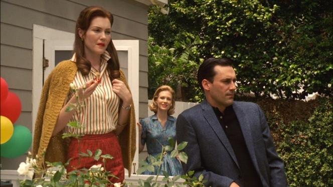 Betty gets understandably jealous when Mount Holyoke graduates like Helen Bishop approach her husband.