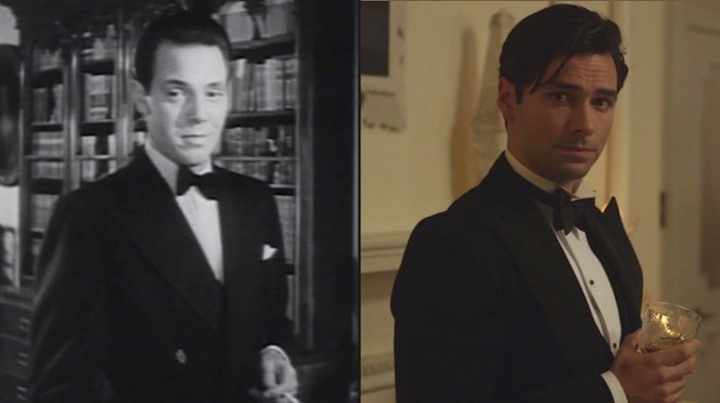 Dueling Lombards: Louis Hayward (in 1945) and Aidan Turner (in 2015) attempt to out-debonair each other as Philip Lombard.