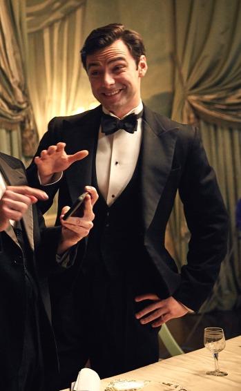 Aidan Turner and his co-stars joke around on set.