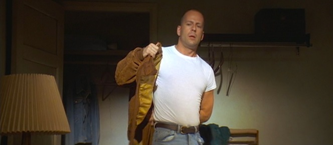 With his classic bomber jacket, super short-sleeve undershirt, and jeans, Butch evokes rebellious '50s icons like Marlon Brando and James Dean.